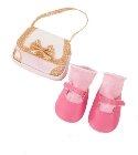 poupee-corolle sac et chaussures roses 42/50cm